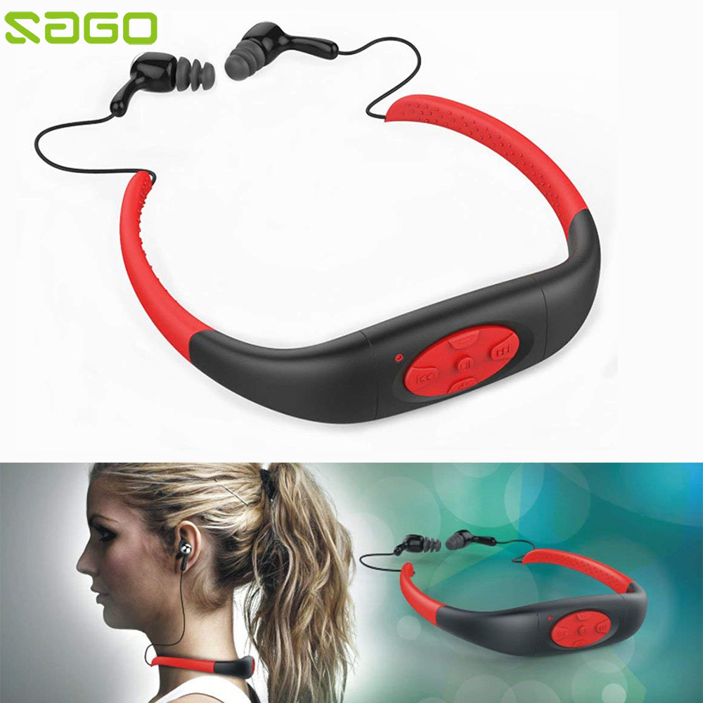 Sago IPX8 Waterproof MP3 Music Player 8GB Neckband Stereo Audio Earphone Headset with FM Radio for Swimming Surfing MP3 mp3 плеер ime 2015 mp3 8gb mp3 fm ipx8 waterproof mp3 player