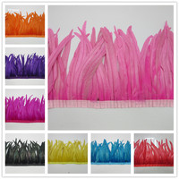 35 40cm Chicken Rooster Feather Trim ribbon Strip 5 yards for Wedding Dress Skirt Party Clothing Decoration DIY Craft Making