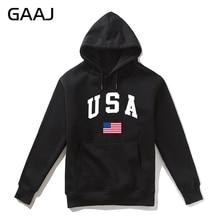 GAAJ USA อเมริกาธงชาย Hoodie ผู้หญิงลำลองแบรนด์ 2019 ใหม่คุณภาพสูงชาย Felpa ขนแกะ Hoodies เสื้อ