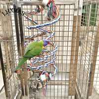 Large Parrot Toys For Macaw African Grey Big Parrot Toys Rope Bird Supplies Pet Bird Spiral Climbing Standing Perch T048