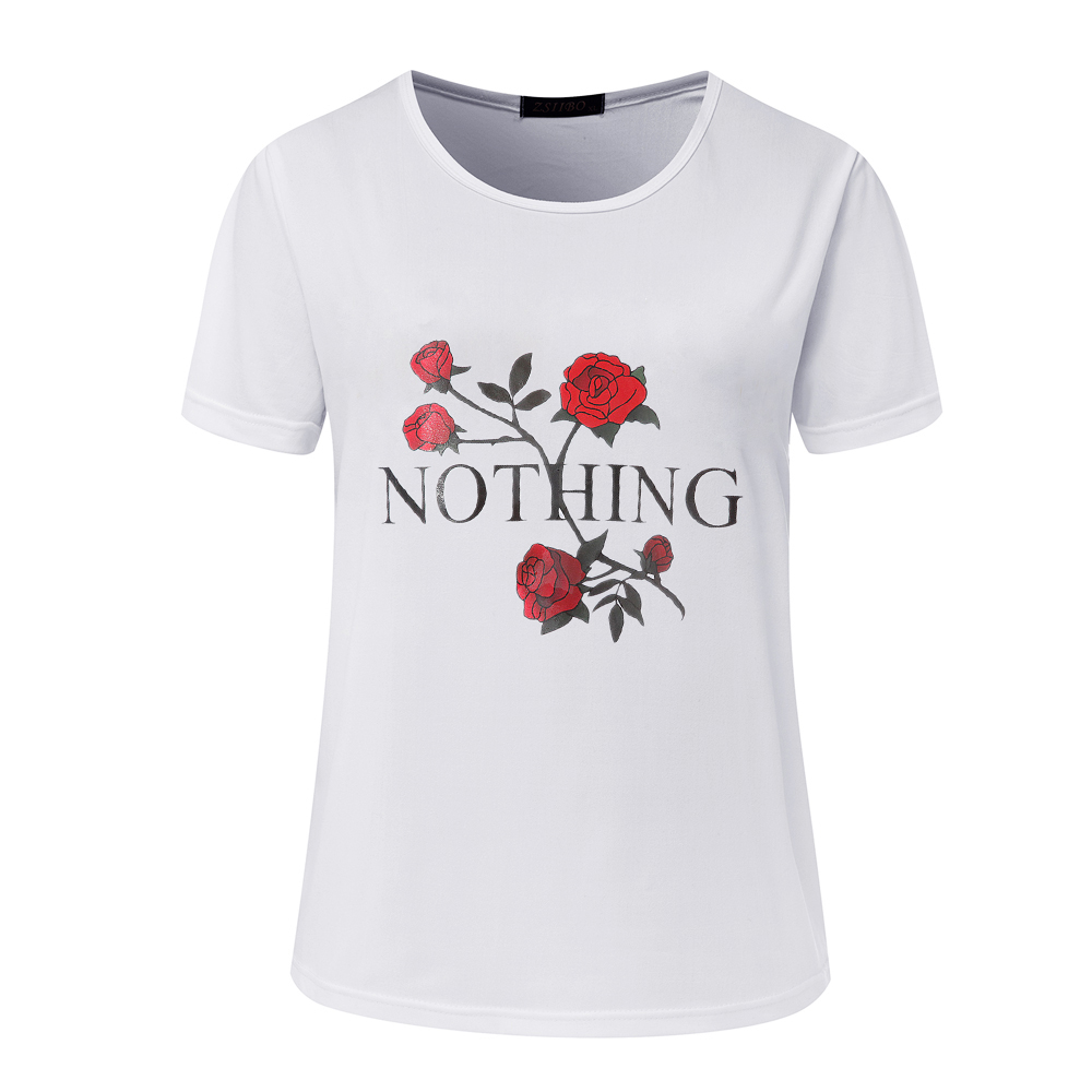 Nothing Street Fashion Slim Summer Basic T Shirt Women New Letter Print Casual Slim Women Tops