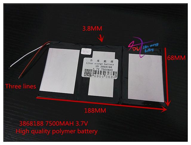 3.7 V 7500 mAH 3868188 bateria De Polímero de iões de lítio/bateria de Iões de lítio para tablet pc BANCO DO PODER MP4