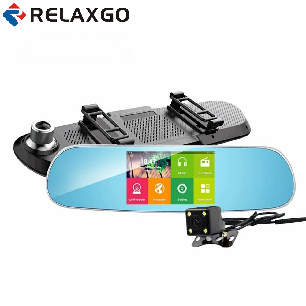 Relaxgo 5car dvr gps navigation android touch rearview mirror video recorder 1080p car camera wifi parking dual lens dash cam 5 ips touch screen car dvr android 4 4 2 1g and 8g gps navigation mirror car dvr dual lens camera rear parking wifi fm transmit