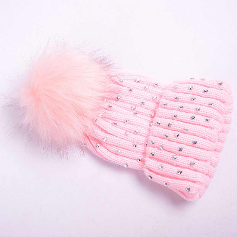 น่ารัก Pompom หมวกเด็กทารกแรกเกิดหมวกถักฤดูหนาวหมวกสำหรับหมวกเด็ก Rhinestone เด็กทารกหมวกหมวกนุ่มเด็กวัยหัดเดินหมวก Bonnet