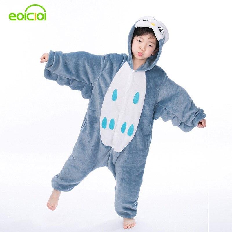 EOICIOI Flannel Animal Kids Christmas Pajamas For Girls Boys Winter Hooded Cartoon Sleepwear Children Cute Owl Cosplay Onesie christmas cartoon owl removable nursery animal wall stickers