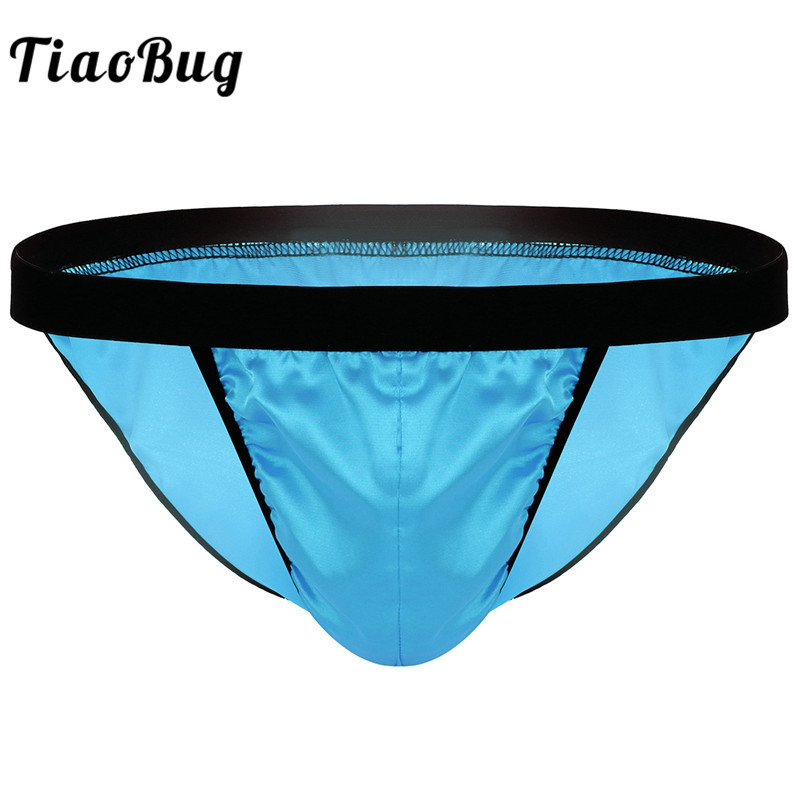TiaoBug <font><b>Mens</b></font> Lingerie <font><b>Shiny</b></font> Fabric Bulge Pouch Low Rise High Cut Bikini Briefs <font><b>Underwear</b></font> Hot <font><b>Men</b></font> <font><b>Sexy</b></font> Male <font><b>Gay</b></font> Panties Clothing image