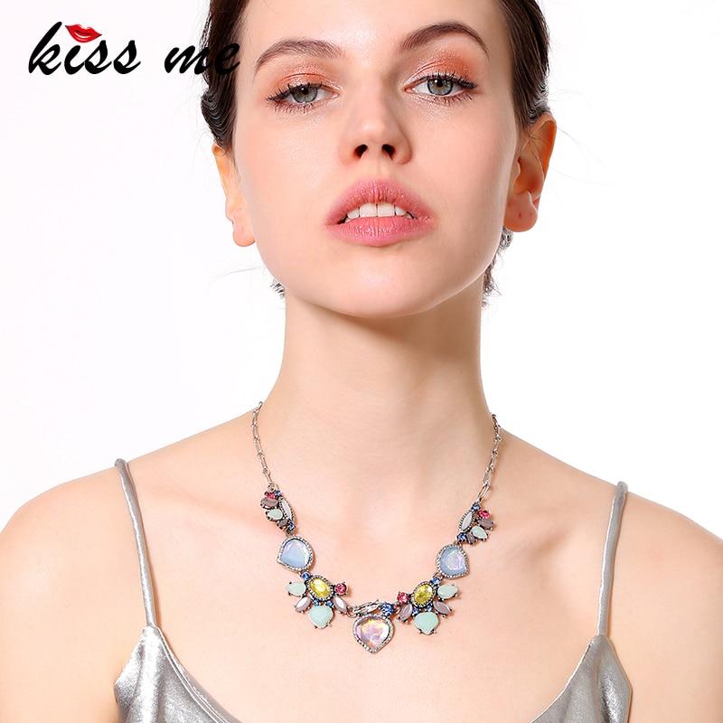 KISS ME Multi Color Water Drop Geometric Maxi Necklace Alloy Vintage Statement Necklace Women Accessories