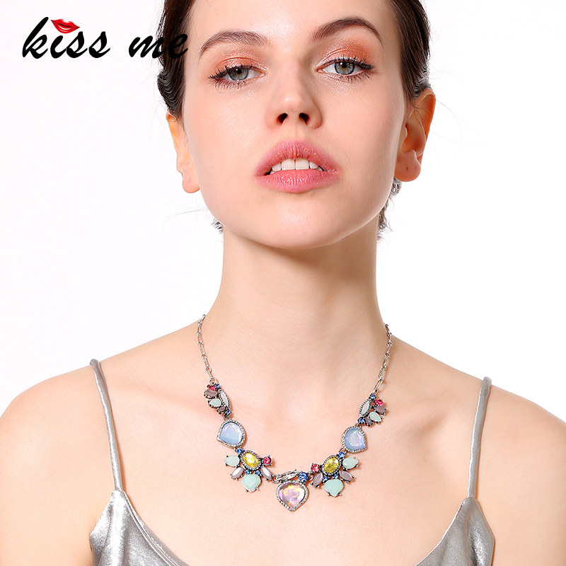 KISS ME Multi Color Water Drop Geometric Maxi Neckls