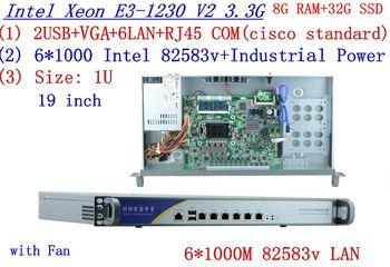mikrotik routers 1U firewall server 8G RAM 32G SSD with six 1000M intel 82583v Gigabit LAN Inte Quad Core Xeon E3-1230 3.3Ghz