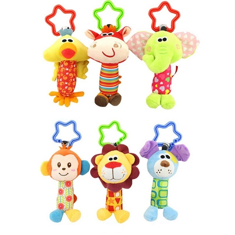 Newborn Infant Baby Soft Toys Baby Rattle Tinkle Hand Bell For Tots Plush Mobiles In Baby Bed/Crib Stroller KF032