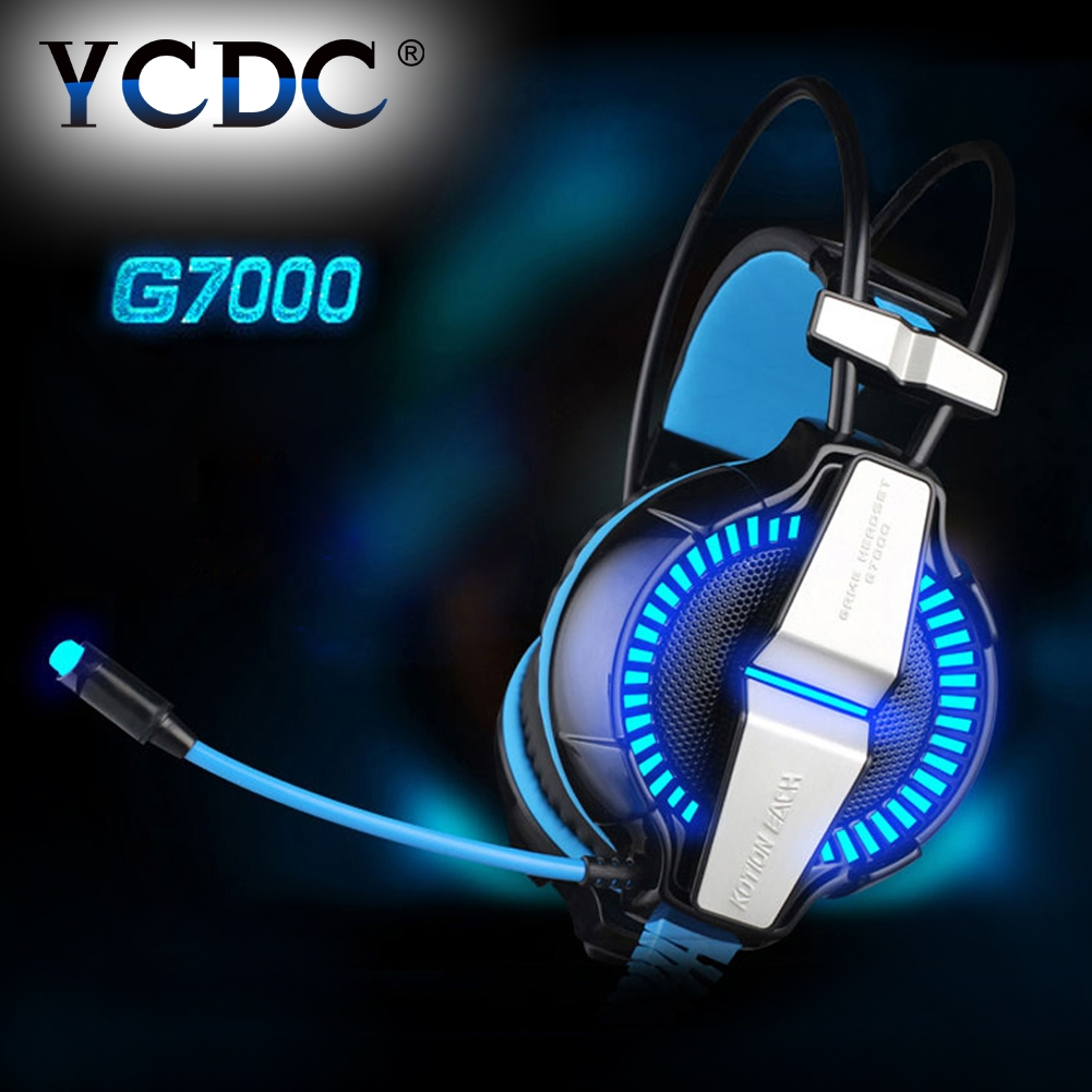 YCDC EACH G7000 Headphone Headset Microphone LED Light 7.1 Virtual Surround Sound Vibration Competitive Edition Game PC Earphone 15pcs each g8200 game headphone 7 1 surround usb vibration gaming headset headband earphone with microphone led light for pc