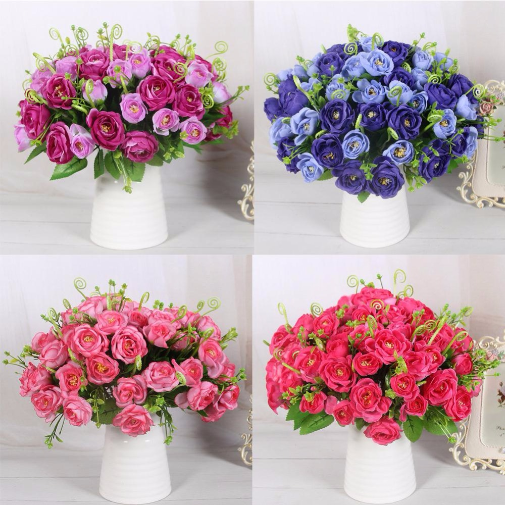5 Heads Pomegranate Rose Silk Artificial Flower For Party