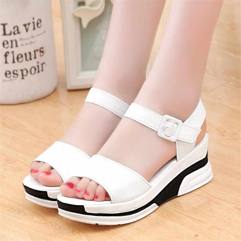 016ff3fda Fashion Women Summer Shoes White Black Platform Soft PU Sandals Women s High-Heeled  Shoes Thick