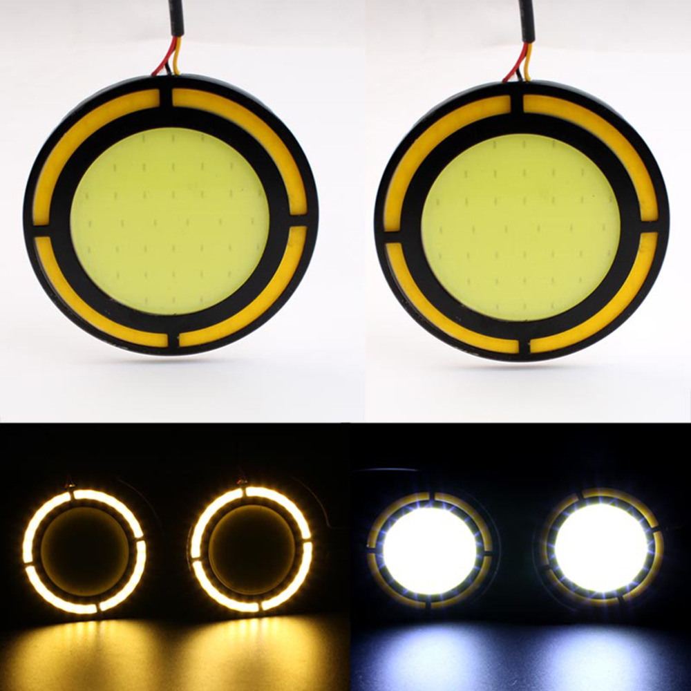 Universal 2pcs 12v LED DRL COB DRL Round 30W diameter 7cmCar Auto Light Daytime Running Light White DRL Yellow Turn Light