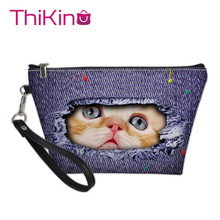 Thikin 2019 Cute Animals Toiletry Bag for Women Slim Cat  Design Galaxy Make Up Girls Handbag