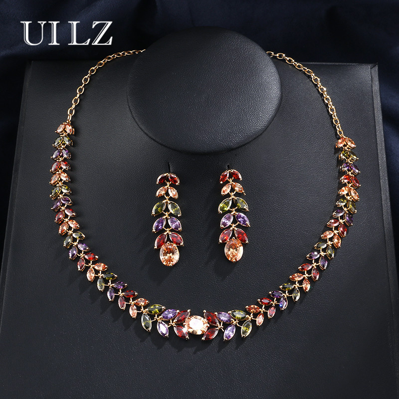 UILZ  Luxury  Mona Lisa Multicolor Leaf Shaped Zircona Necklace Earring Jewelry sets For wedding/Evening party US012