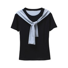 2017 Summer O-Neck Short Sleeve T Shirts With Tie Loose Harajuku Style Soft Tops Resile 1 Size 3 Colors