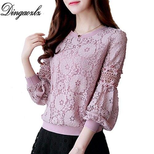 Dingaozlz mode dentelle chemise Coréenne 2018 new élégant long sleve évider dentelle hauts casual perles couture femmes blouse