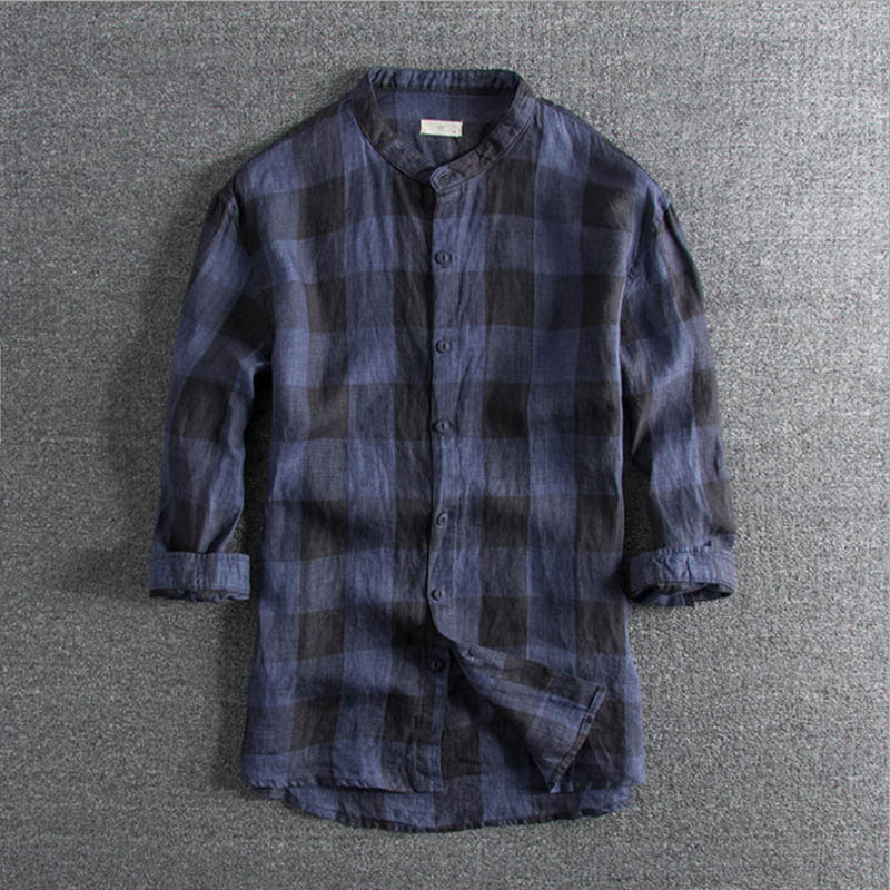Alert 2019 Spring And Summer New Lattice Washed Linen Shirts Foreign Trade Mens Five-sleeve Standing Collar Blouse Promotion On Sale With Traditional Methods Men's Clothing Casual Shirts