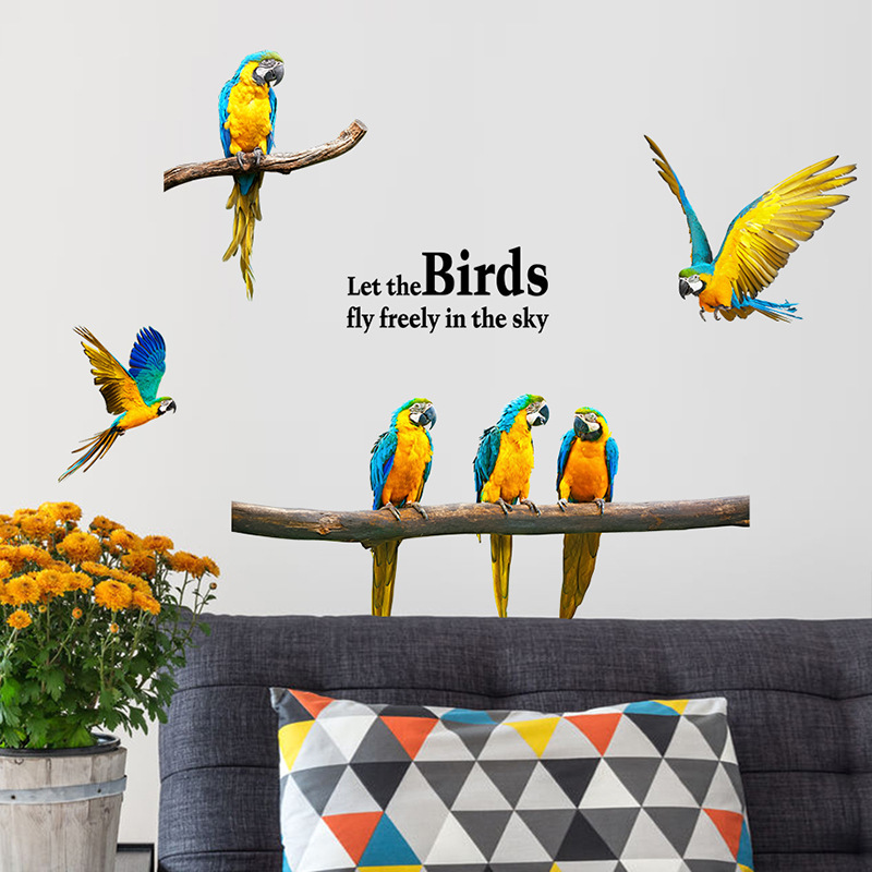 3d Macaw Wall Sticker Animal Birds Stickers Living Room Bedroom Home Decor Wallstickers For Kids Baby Rooms Brick Poster Mural