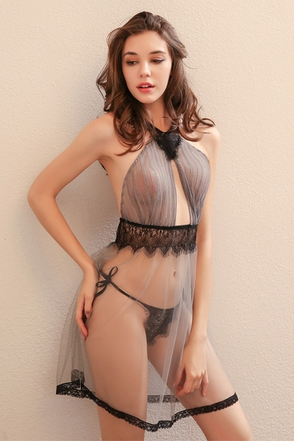 High Quality Beauty Back Sexy Seduction Nightdress Summer Tulle Sheer Lace Nightwear Nighties for Women Nightgowns 4