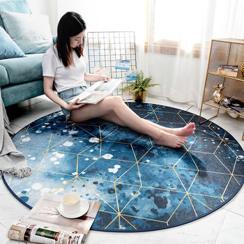 Europe Type Geometric Round Carpets For Living Room Bedroom Area Rugs Children Room Computer Chair Floor Mat Cloakroom Carpet