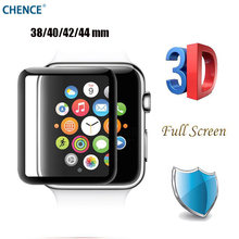 CHENCE Full Screen Coverage 3D Curved surface Tempered Glass For Apple Watch 42mm 38mm 40mm 44mm Film Smart watch Series 1 2 3 4(China)