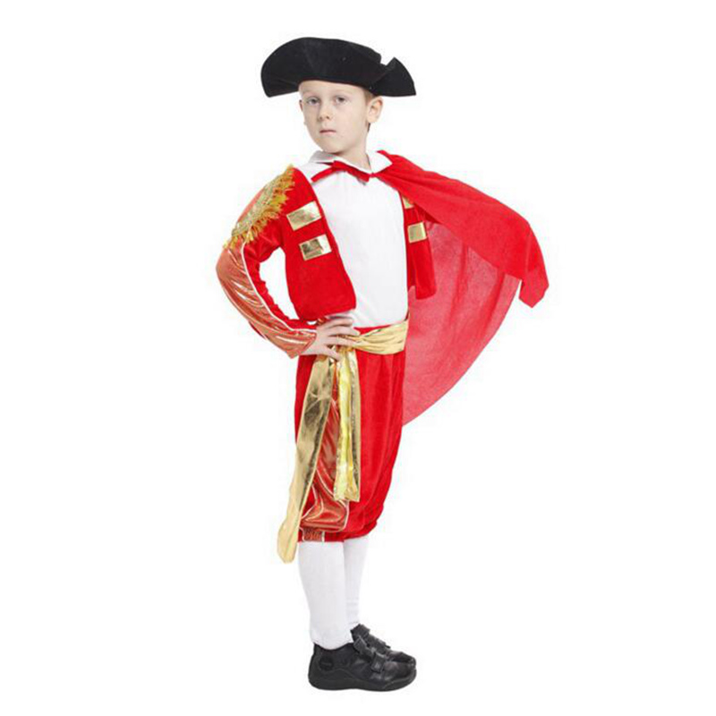 Brave Fighting Boys Kids Small Matador Cosplay Costume Childrens Day Courageous Red Cloak Matador Clothing(Tops+Pants+Belt+Hat)