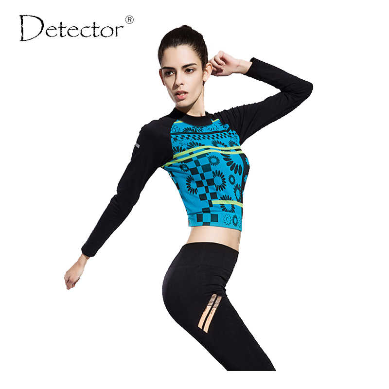 Detector Women Sports Compression Long Sleeve T Shirt  Fitness Women Running Shirt Femme Printing Gym Quickly Dry Clothes