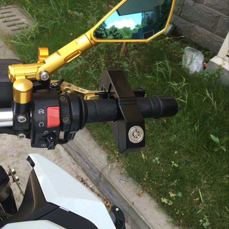 CNC Motorbike Scooter Bike Handlebar Safety Lock Brake Throttle Grip Protection With Keys NJ88