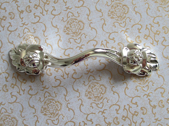 3.75 Rose Shabby Chic Dresser Drawer Pulls Handles / Flower Shiny Bright Silver Cabinet Door  Pull Knobs Furniture Hardware 1 pair 4 inch stainless steel door hinges wood doors cabinet drawer box interior hinge furniture hardware accessories m25
