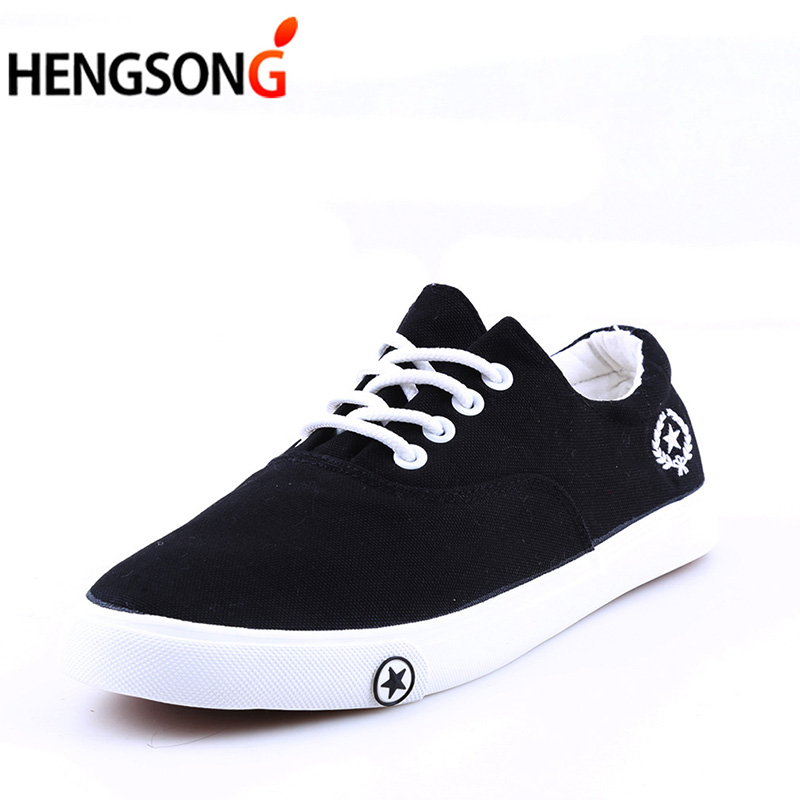 HENGSONG Men's Vulcanize Shoes Black White Men's Flat Shoes Spring/Autumn Man Lace up Canvas Shoes Zapatos Shoes TR982579