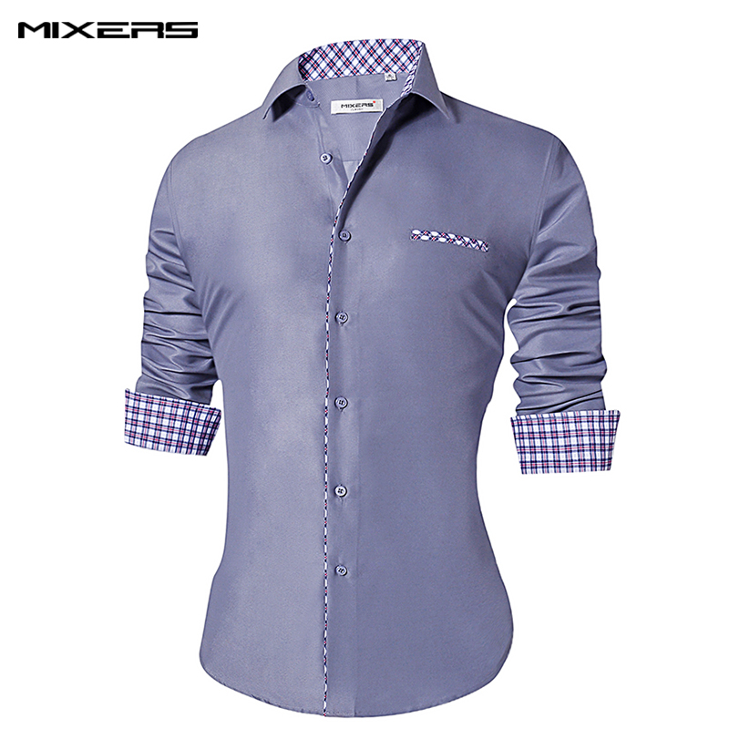Vicky Wheeler Men Formal Slim Fit Long Sleeve Contrast Color Button-Down Shirts Casual Turn-Down Collar Dress Shirts