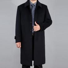 Осень Зима Мужчины Шерсти Пальто Куртки Однобортный Отложным Воротником Кашемировые Пальто Длинные Траншеи Случайный Мужчина Пальто WHJ104