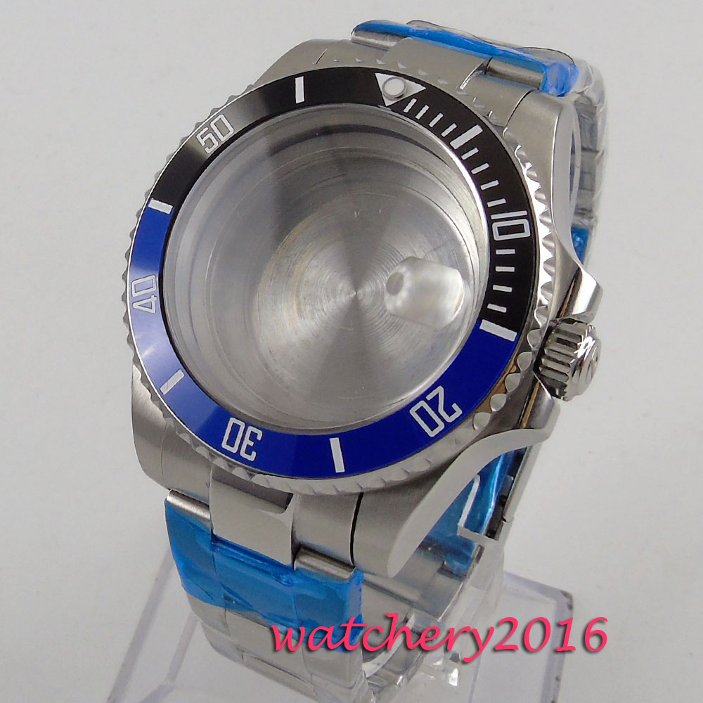 40mm black Blue Ceramic Bezel Sapphire Glass Watch Case fit 2824 2836 Movement Watch Case elephone w2 bluetooth 4 0 smart watch rhonda 762 movement sapphire crystal glass ip53 fit tracker for smartphone
