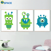 Kawaii Monster Nordic Poster Wall Art Canvas Painting Posters And Prints Nursery Art Wall Pictures For Baby Girl Boy Room Decor макияж маникюр книжка раскраска с наклейками