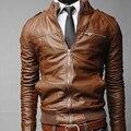 Новая весна осень теплая мужчины стройное твердые пиджаки кожаная куртка замшевая Gentlem высокое качество Causual одежда марка мода топы