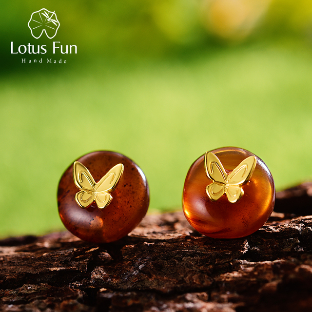 4d573e10cc868 US $16.9 50% OFF|Lotus Fun Real 925 Sterling Silver Natural Amber Stone  Handmade Designer Fine Jewelry Butterfly Stud Earrings for Women Brincos-in  ...
