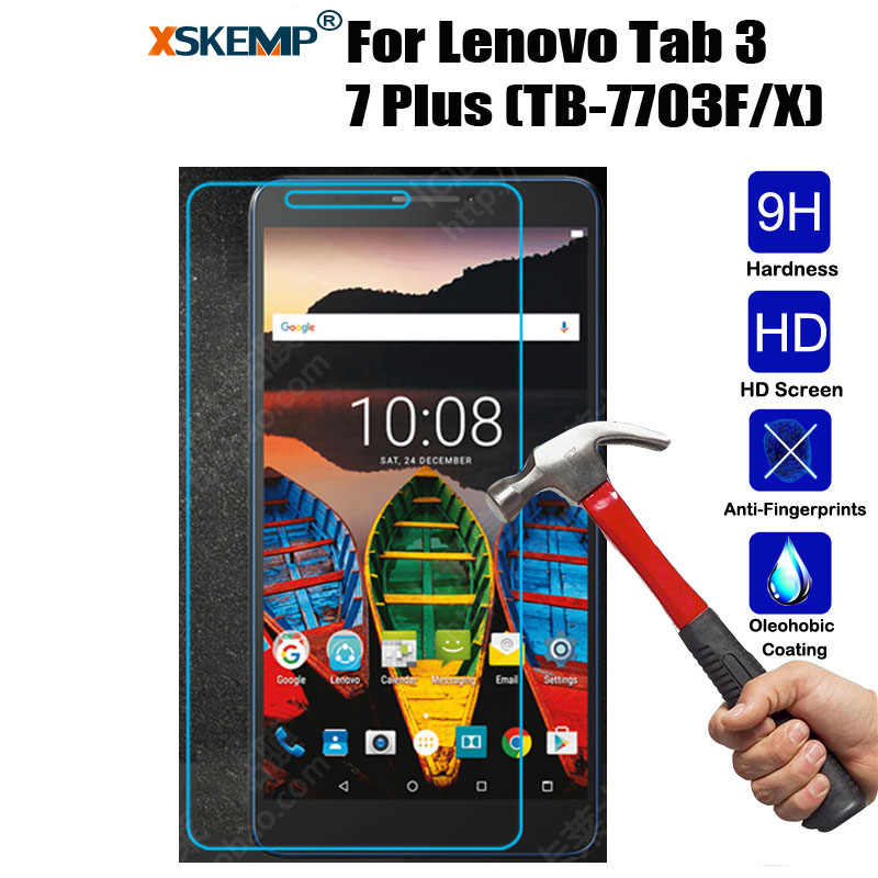 XSKEMP 9H Hardness Real Tempered Glass Film For Lenovo Tab 3 7 Plus (TB-7703F/X) Clear Tablet Screen Protector Protective Guard xskemp 9h hardness real tempered glass for samsung galaxy tab s2 8 0 t710 t715 0 3mm lcd tablet screen protector protective film