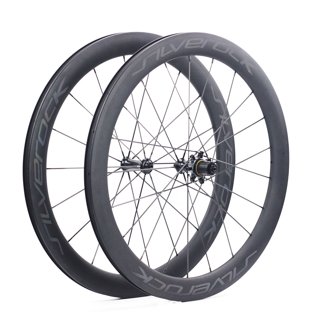 SILVEROCK Carbon <font><b>700C</b></font> Road Bike Wheelset <font><b>Rim</b></font> Caliper Brake Bearing Hubs Carbon Spokes <font><b>20H</b></font> 24H 100mm 130mm 55mm Clincher Wheel image