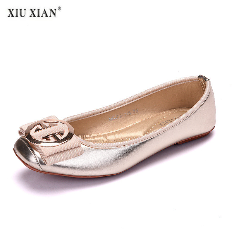 Womens Shoes Flats Luxury Spring Casual Womens Slip On Square Toe Leather Flats High Quality Leather