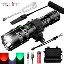 Avcılık L2 USB şarj edilebilir taktik el feneri kırmızı/yeşil/beyaz LED avcılık ışık izci Ultra parlak su geçirmez Torch 1x18650