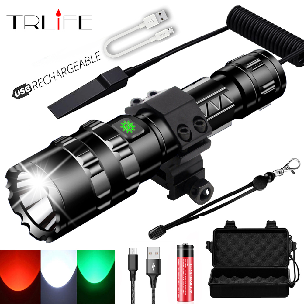 Hunting L2 USB Rechargeable Tactical Flashlight Red Green White LED Hunting Light Scout Ultra Bright Waterproof Torch by 1x18650
