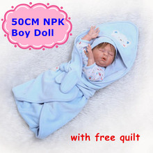 NPK New 50CM Bebe Reborn Doll Full Silicone Body Alive Sleeping Baby Boy With Cute Blue Clothes&Free Quilt As Toys For Girls