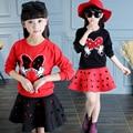 2016 новая девочка задает девушки минни маус комплект одежды полые футболки + юбка детей 2 шт. костюм розничная
