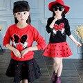 2016 nova Baby Girl define meninas Minnie Mouse vestuário Set oco camisetas + saia crianças 2 pcs terno varejo
