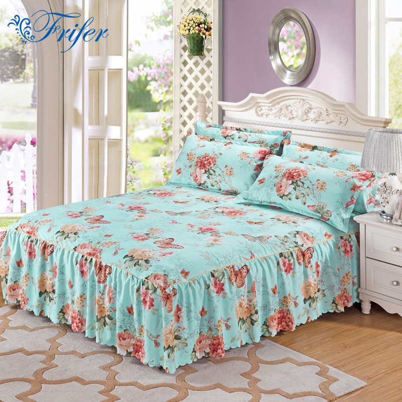 Polyester Cotton <font><b>Bed</b></font> Skirt Bedspread Mattress Cover Elegant Printed Floral <font><b>Bed</b></font> Covers Sheets Twin Full Queen Size Jacquard Style