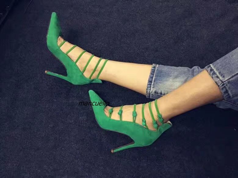 Classy Green Suede Cut-out High Heels Sexy Pointy Buttons Decorated Stiletto Heel Pumps Trend Fashion Shoes New Arrival classic fashion women s club banquet wedding shoes sexy suede zipper 17 cm in stiletto heels
