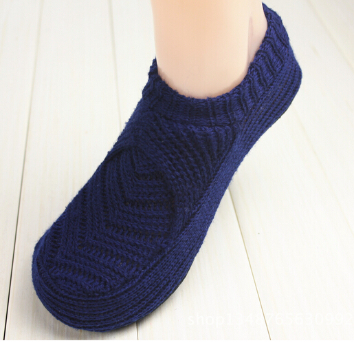 2d5927e2ec1 Sol en intérieur femme   homme chaussons   chaussures chaudes laine  tricotée antidérapant pantoufles à la