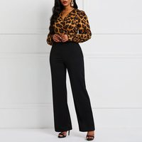 Leopard Sexy Jumpsuit Romper Women Long Sleeve Office Vintage Fashion African Ladies Party Casual Jumpsuits Long High Waist Punk